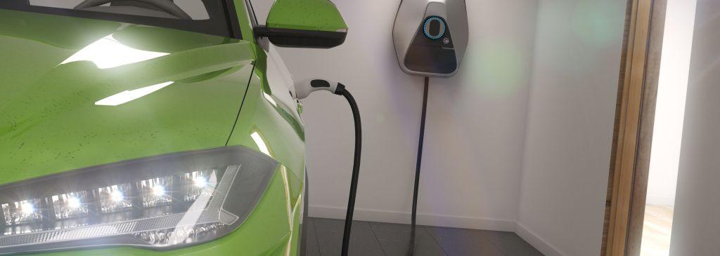 charging electric car in garage