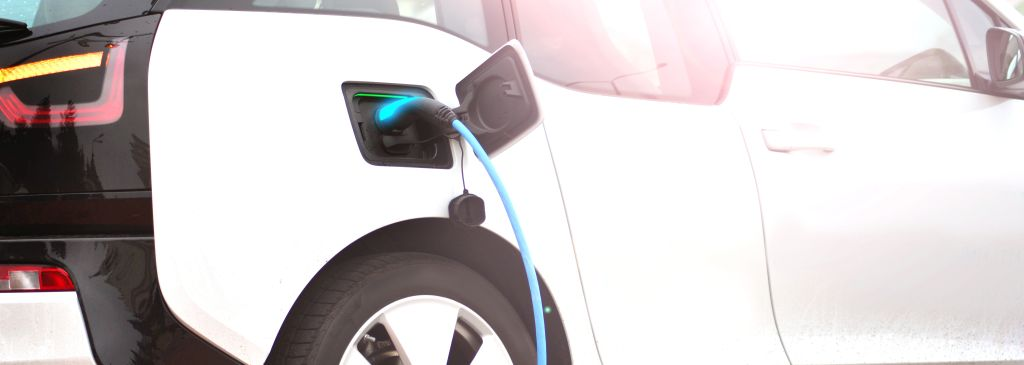 Electric car charging with a charger socket