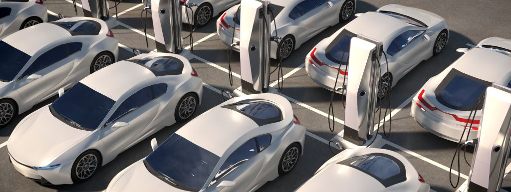 electric cars on parking