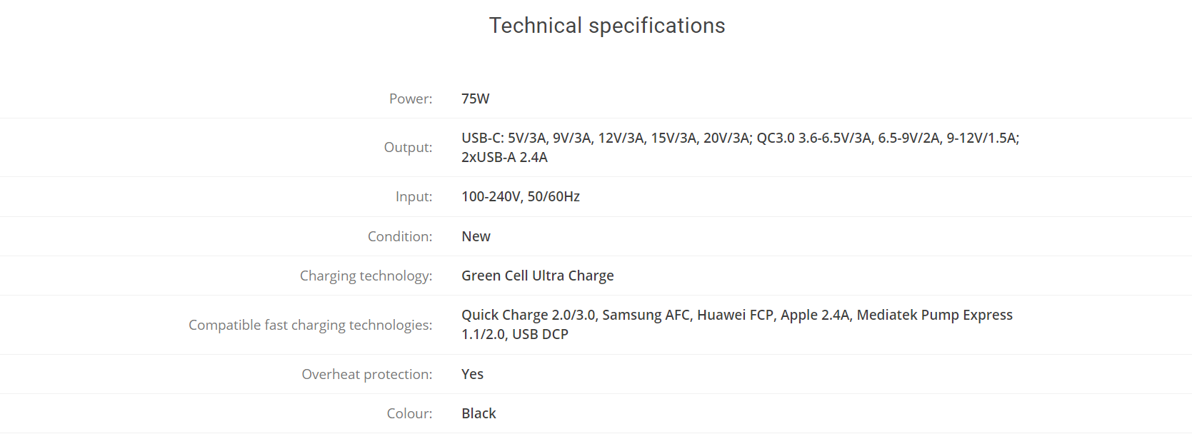 fast charger technical specifications