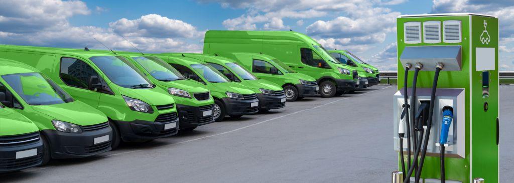 fleet of green electric cars