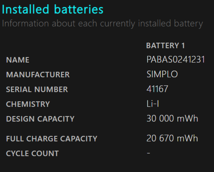 information about installed battery condition